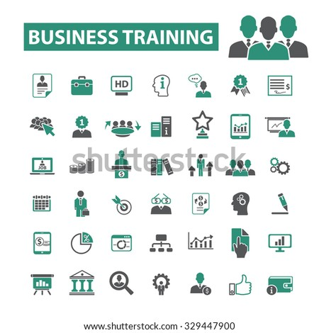 business training, education, school, learning icons - stock vector