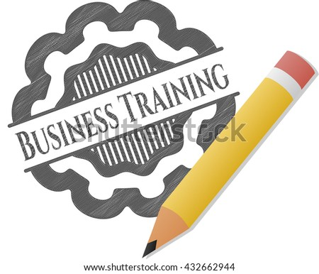 Business Training emblem drawn in pencil - stock vector
