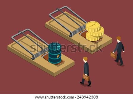 Business trap oil price drop investment crisis problem trouble concept flat 3d web isometric infographic vector. Businessman desperate situation goes mousetrap oil barrel money bait. Creative people. - stock vector