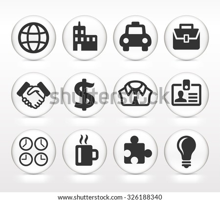 Business Travel and Corporate Lifestyleon White Round Buttons - stock vector
