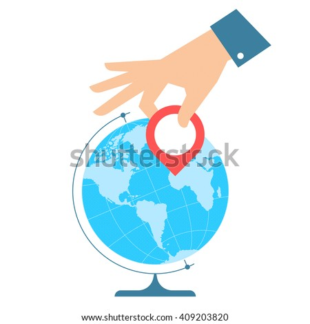Business travel concept. Flat vector illustration of western globe hemisphere and hand with pin marker. Man is pointing a place on the map. Infographic element for web, print, social networks. - stock vector
