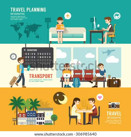 Business travel design concept people set planning, searching, sitting, departure time in airport terminal. with flat icons. vector illustration - stock vector