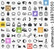 Business, travel, miscellanous, shopping, computing, media icons set - stock