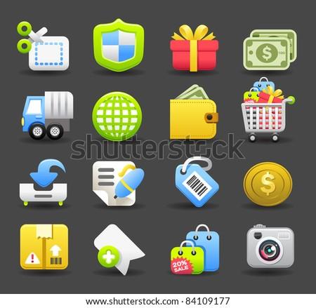 business,travel,shopping icon set | Dark series - stock vector