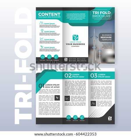business trifold brochure template design turquoiseのベクター画像