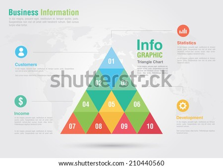 Business triangle bar chart infographic. Business report creative marketing. Business success. - stock vector