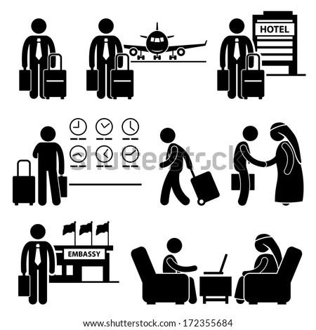 Business Trip Businessman Travel Meeting Stick Figure Pictogram Icon - stock vector