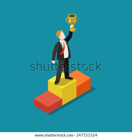 Business trophy rating award winner concept flat 3d web isometric infographic vector. Businessman on first place pedestal rising hand with gold cup. Creative people collection. - stock vector