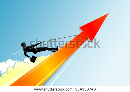 Business Uptrend Arrow-Businessman riding on fast paced growth trend