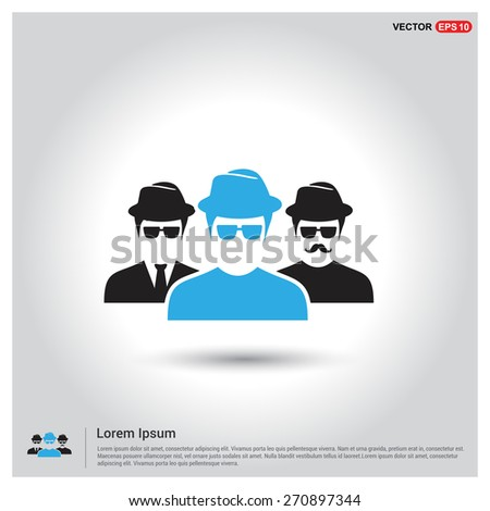 Business User Icon. Users Group Icon. Social Community Icon. Business Man friends. Icons for People, Social Media, Teamwork concept. Blue Manager User Highlight. Flat style design Pictogram icon. - stock vector