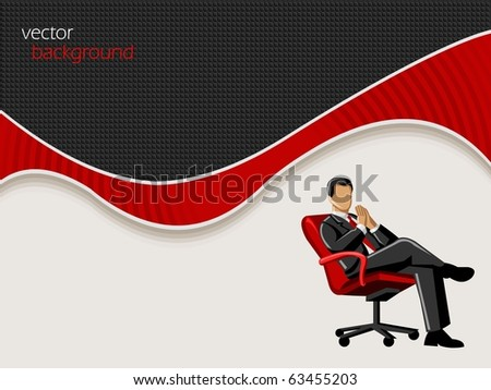 Business Vector background with businessman on chair - stock vector
