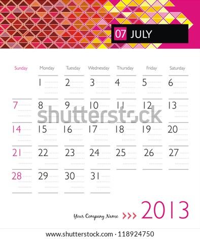 Business vector calendar 2013. July - stock vector