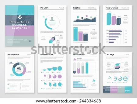 Business vector graphics for modern creative infographics. Big set of modern infographic vector elements for web, print, magazine, flyer, brochure, media, marketing and advertising concepts. - stock vector