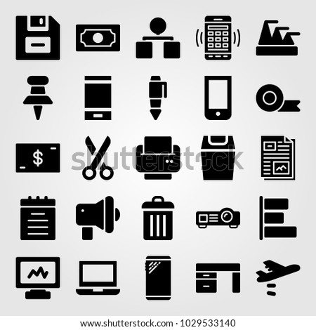 Business vector icon set. computer, projector, scissors and notebook