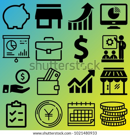 Business vector icon set consisting of 16 icons about calendar, monitor, debit card, diagram, coin, savings, list, chart, money box and dollar sign