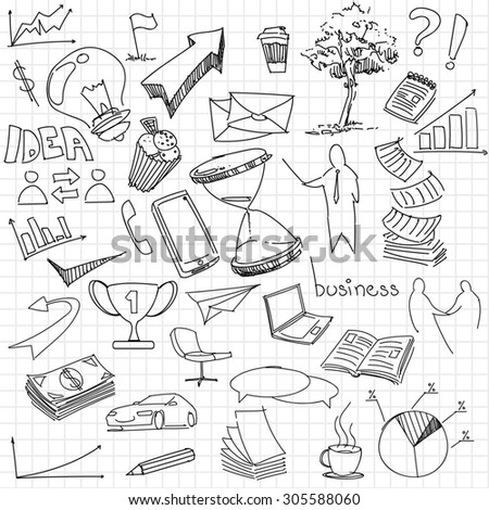 business vector icons / drawings - stock vector