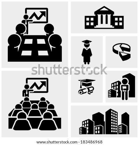 Business vector icons set on gray  - stock vector