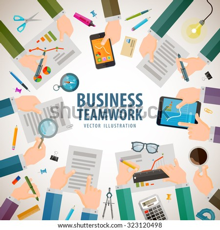 business vector logo design template. office or teamwork icons - stock vector