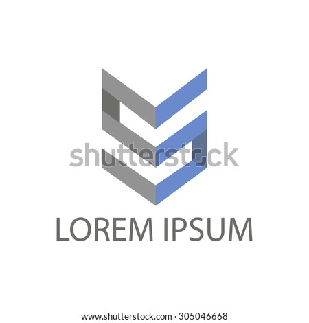 business vector logo. grey and blue colors.  - stock vector