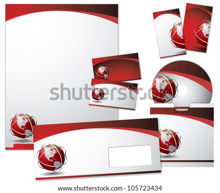 Business vector set with colored ribbon - stock vector