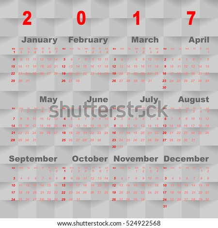 Business vector template of 2017 calendar on grey square background, stock vector