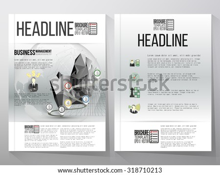 Business vector templates for brochure, flyer or booklet. Gray background with timeline and world globe. Vector infographic template for business design.