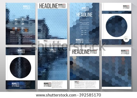 Business vector templates for brochure, flyer or booklet. Night city landscape. Collection of abstract multicolored backgrounds. Geometrical patterns. Triangular style vector illustration - stock vector