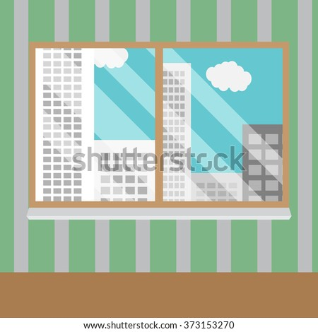 Business views window office. Office window, business building, interior glass, view urban skyscraper. Vector art abstract unusual fashion illustration - stock vector