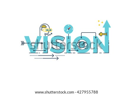 Business Vision word lettering typography design illustration with line icons and ornaments in blue theme - stock vector