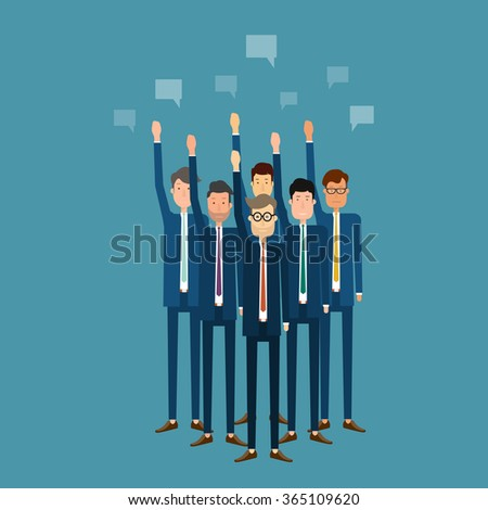business vote.business team.business meeting.cartoon character.group business people  - stock vector