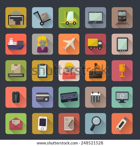 Business, warehouse, transportation and delivery icons flat set. Vector illustration