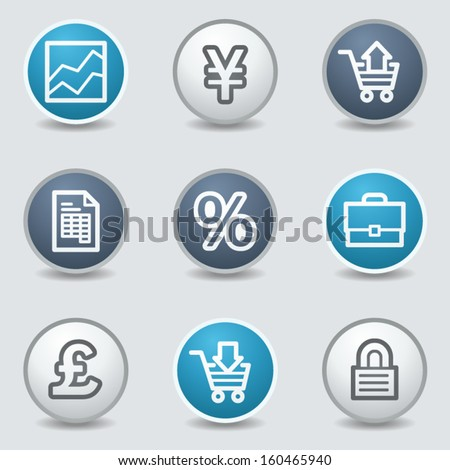 Business web icons, circle blue buttons