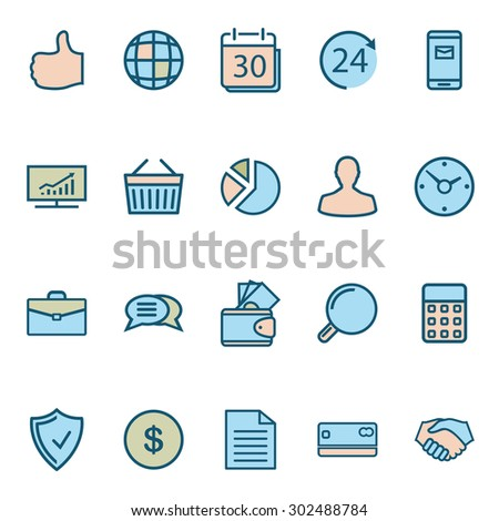 Business Web Icons. Modern Collection Isolated on white background. Illustration. Vector EPS10. - stock vector