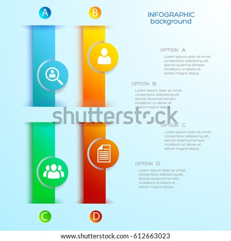 Business web infographics with colorful vertical banners circles four options and icons on blue background vector illustration