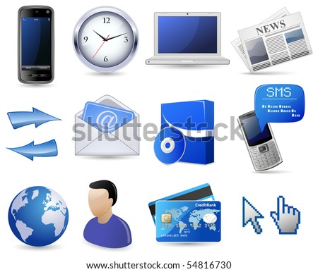 Business website icon set - blue - stock vector