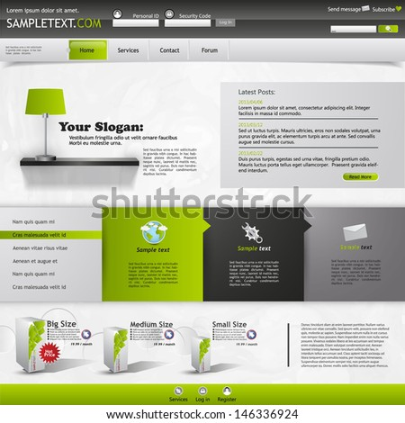business website template - stock vector