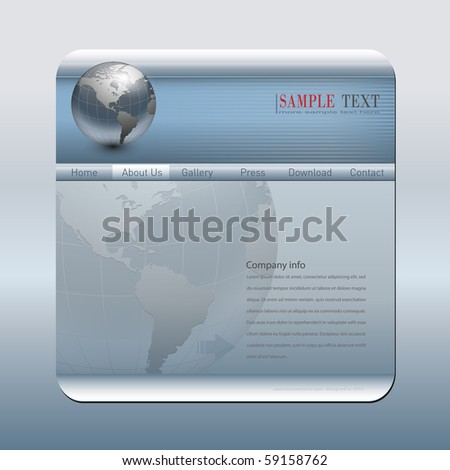 Business website template silver blue, editable vector. - stock vector