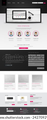 Business Website Template, with blank tablet. Vector eps 10