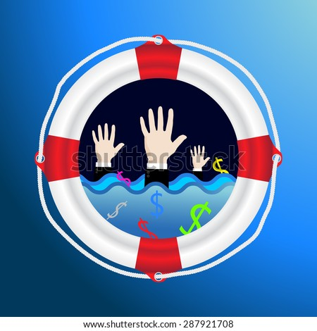 Business White life preserver lifebuoy with red stripes and ropewith hand of drowning business man concept Helping Business survive - stock vector