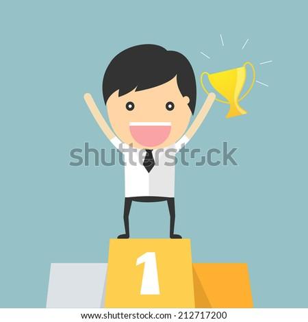 Business winner podium concept - stock vector