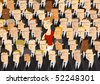 Business Woman Among Businessmen - stock photo