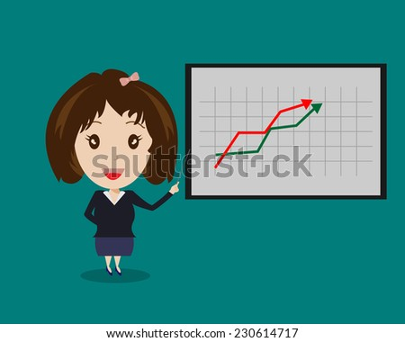 Business Woman and Graph Board Cartoon Vector,Business Concept