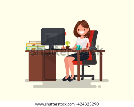 Business woman at work. Office worker woman behind the a work desk. Vector illustration of a flat design. - stock vector