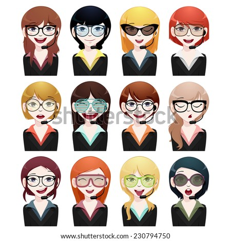 business woman avatar set - stock vector