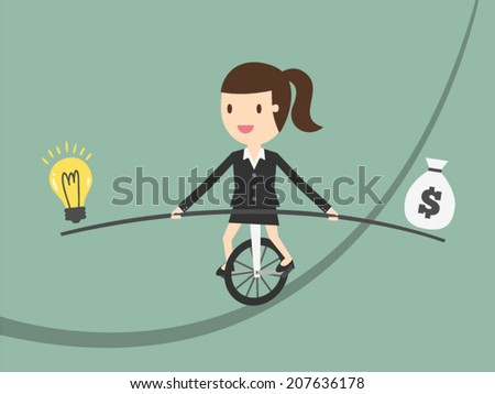 Business woman balancing on the rope with ideas and money - stock vector