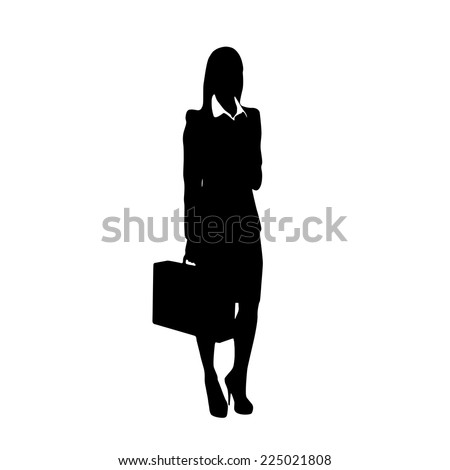 business woman black silhouette hold briefcase standing full length over white background - stock vector