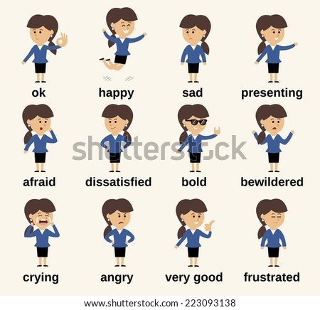 Business woman cartoon character happy and sad emotions set isolated vector illustration - stock vector