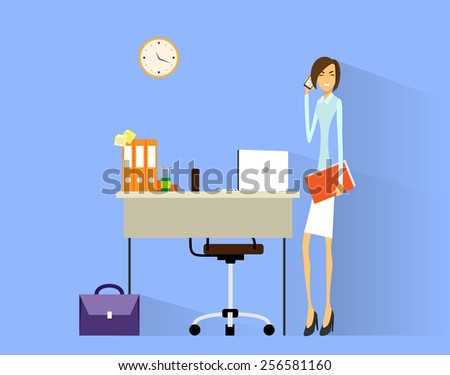 business woman cell phone call at desk in office working flat vector illustration - stock vector