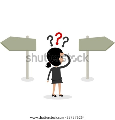 Business Woman Character Has to Take a Difficult Decision - stock vector