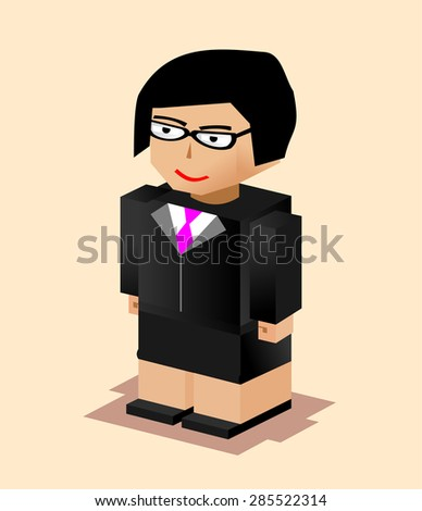 Business woman character illustration. Flat design. Business woman working.   - stock vector